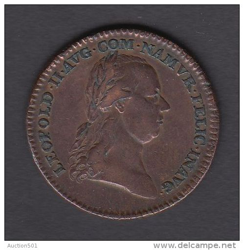 M01771 LEOPOLD II NAMUR COMTE De FLANDRE PAYS-BAS AUTRICHIEN 1791 - Son Profil (13.3g) Blason Au Revers - Adel