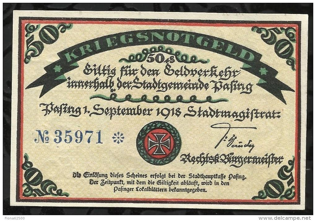 BILLET DE NECESSITE .PASING . 50 PFENNIG  1918 . - [11] Local Banknote Issues