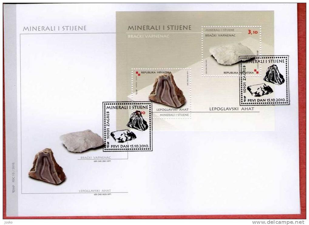 MINERALS AND ROCKS ( Croatia FDC ) Minéraux Et Roches Geology Geologie Geologia Mineral Minerales Minerali - Minerali