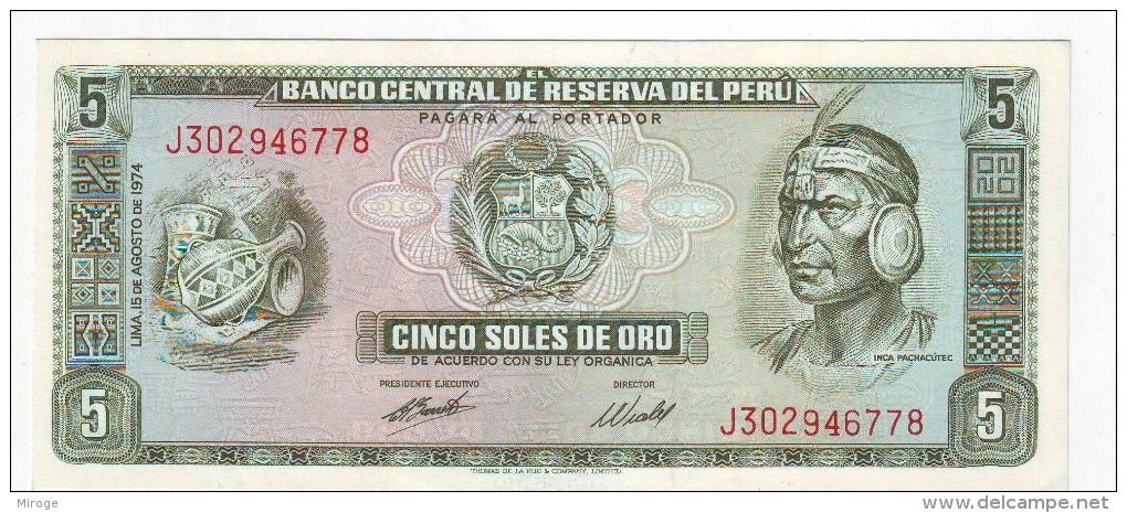 5 Soles De Oro  Banknote UNC Peru 1974 , Paper Money, Currency, Billets - Pérou