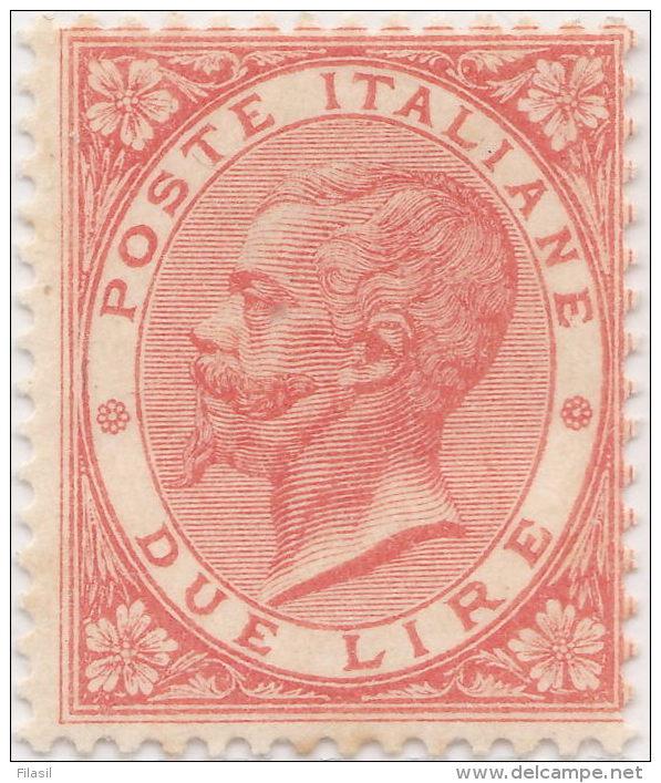 SI53D Italia Italy Regno 1863 2 L. - Effigie Di Vittorio Emanuele II Entro Un Ovale  Nuovo MLH - Nuovi