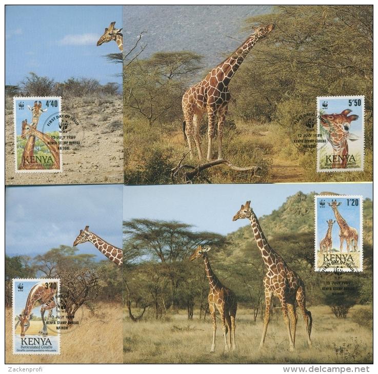 Kenia 1989 WWF Giraffen 481/84 Maximumkarten (R1953) - Kenia (1963-...)