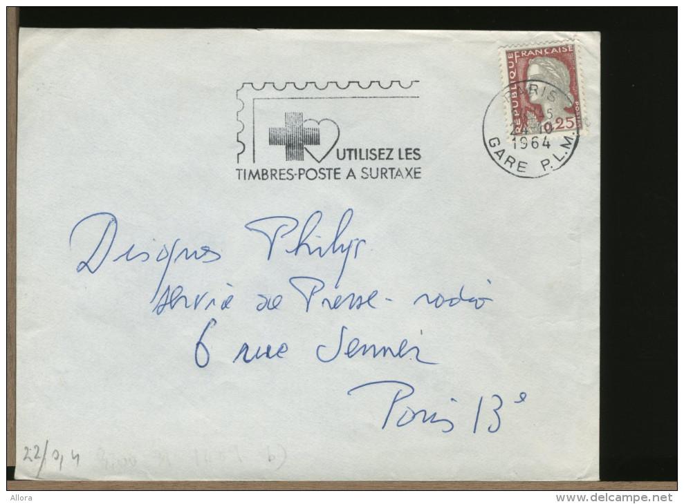 FRANCE  -  PARIS '64  -  UTILISEZ  LES  TIMBRES POSTE  A'  SURTAXE - Rotes Kreuz