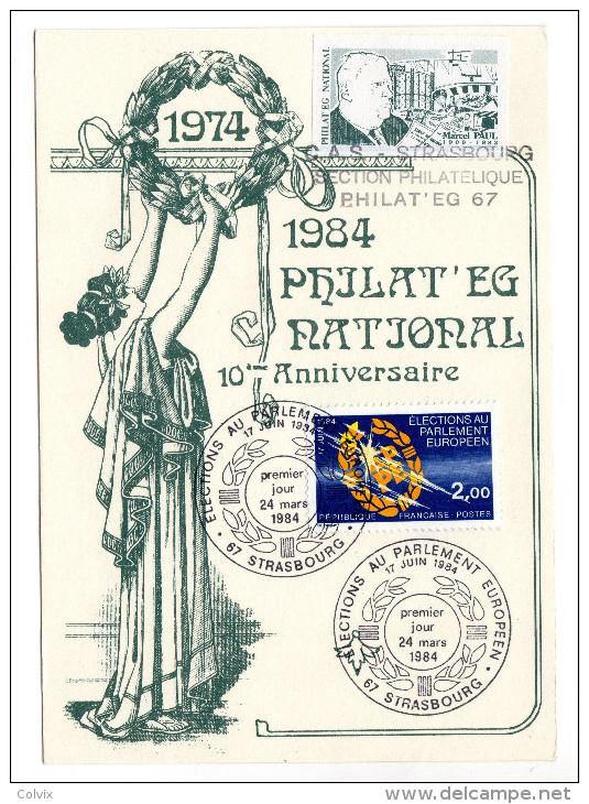 FRANCE 1984 10eme Anniversaire Philat'eg National élection Au Parlement Europeen - Autres