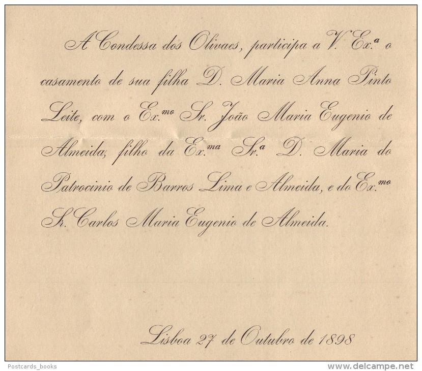 1898 Convite Casamento Filha CONDES Dos OLIVAES (Pinto Leite) / CONDE DE ARGE (Eugenio De Almeida) Embaixador Inglaterra - Fiançailles