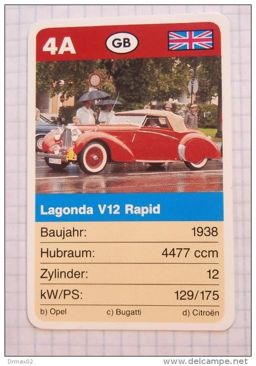 LAGONDA V12 Rapid  1938 - Old Car, Oldtimer,  Voitures Anciennes GB Aston Martin  / SuperTrumf, Playing Card - Cars