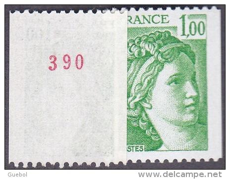 France Roulette N° 1981,Aa ** Sabine De Gandon Le 1f00 Roulette Vert, Numéro Au Verso - Rollen