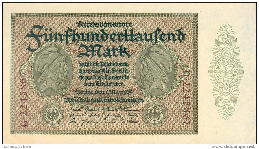 Deutschland, Germany - 500 000 Mark, Reichsbanknote, Ro. 87 C,  ( Serie G ) UNC- ( I- ), 1923 ! - 1918-1933: Weimarer Republik