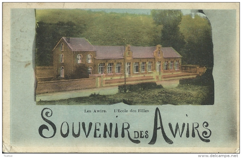 Les Awirs - Souvenir De ... -Jolie Vue De L'Ecole Des Filles - 1929 ( Voir Verso ) - Flémalle