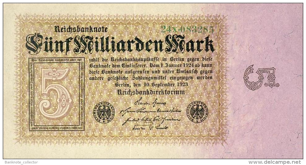 Deutschland, Germany - 5 Mrd. Mark, Reichsbanknote, Ro. 112 B,  ( Serie X ) XF+ ( II+ ), 1923 ! - [ 3] 1918-1933 : Weimar Republic