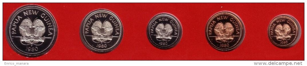 PAPUA NEW GUINEA - Partial Proof Set (5 Coins) 1980 FM- KM# 1 Through 5 - Papuasia Nuova Guinea