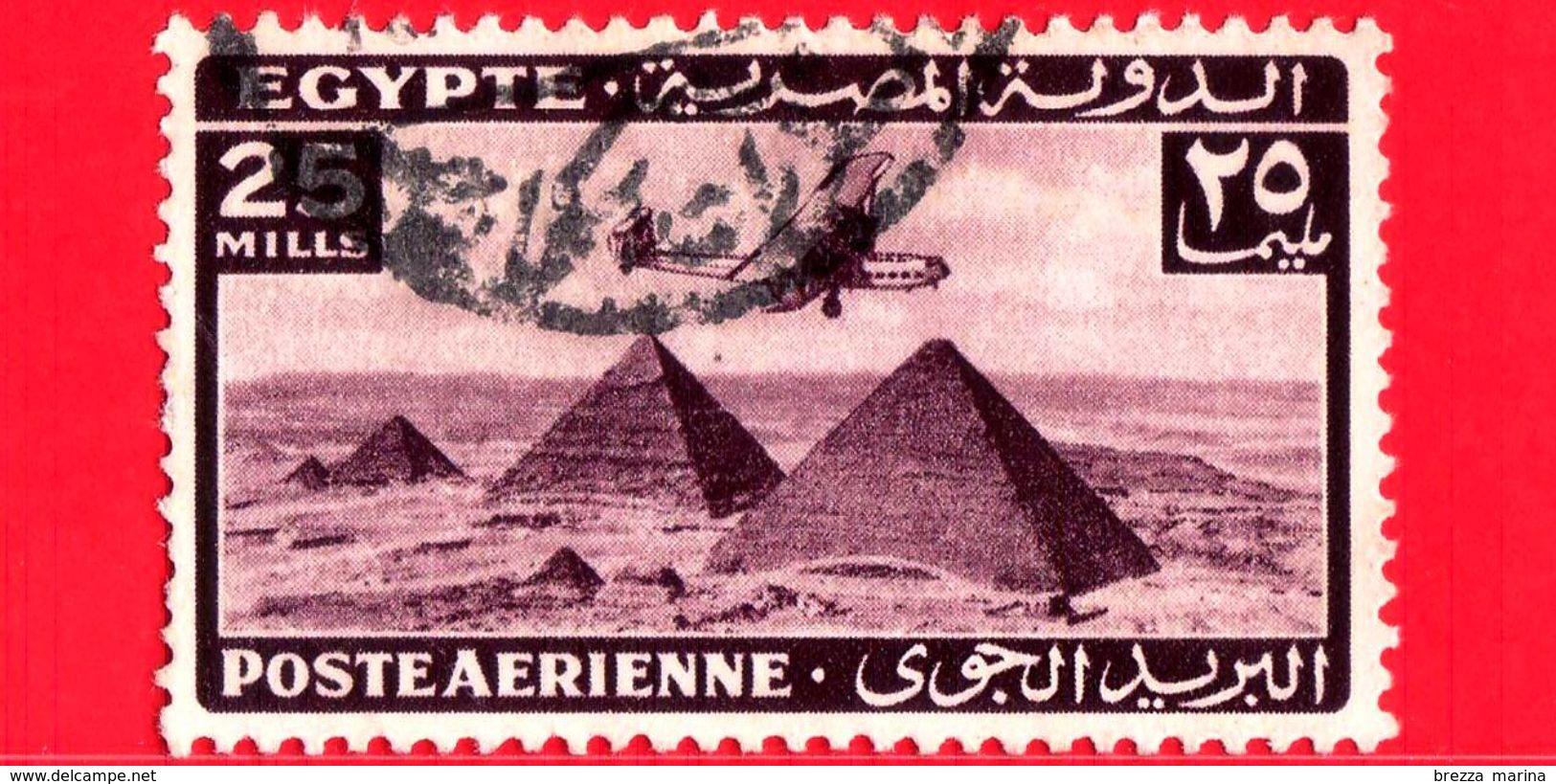EGITTO - Usato - 1943 - Aereo Che Vola Sopra Le Piramidi Di Giza - 25 Posta Aerea - Posta Aerea