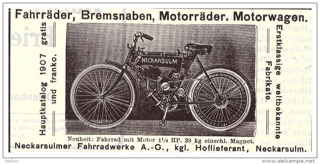 Original Werbung - 1907 - NSU , Motorrad , Neckarsulm , Moto , Motorräder !!! - Motorräder
