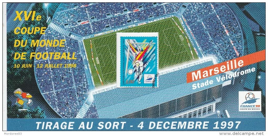 L int grale des timbres neufs de la coupe du monde de foot de 1998 en france carte du tirage - Tirage en coupe 52 cartes ...