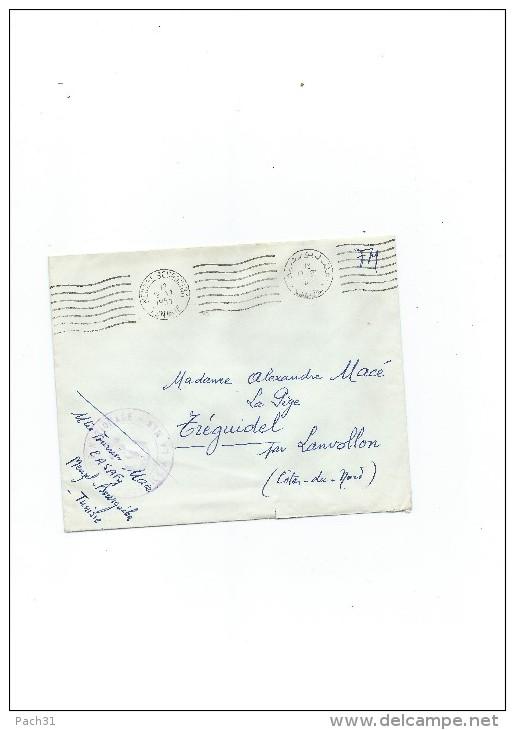 """Lettre Oblitérée  """"Menzel Bourguiba Tunisie 1957"""" En FM - Postmark Collection (Covers)"""