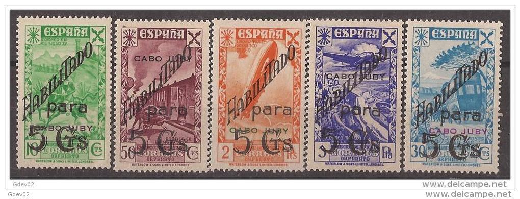 CJBE7STV-LFT4108TTT.Marruecos .Maroc Marocco.Historia Del Correo.CABO JUBY ESPAÑOL BENEFICENCIA  1941.(Ed 7/11**). Sin C - Trenes