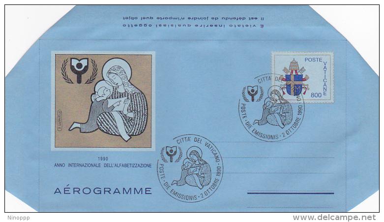 Vatican City 1990 A 28 International Writing Year  FDC  Aerogramme - FDC
