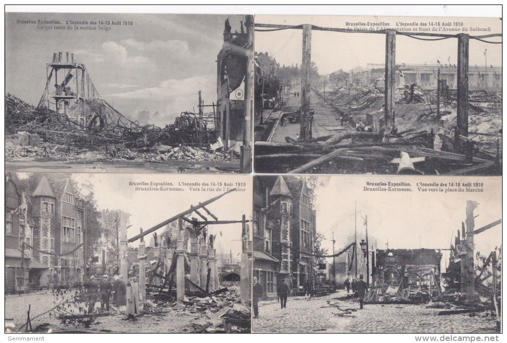 BRUXELLES EXHIBITION 1910. FIRE DISASTER . 4 CARDS - Exhibitions