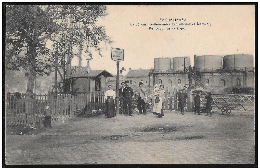 Erquelinnes Le Poteau Au Frontière Entre Erquelinnes Et Jeumont - Usine à Gaz - 1926 - Erquelinnes