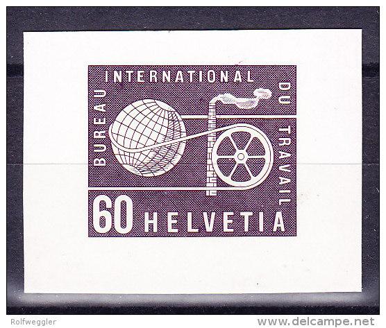Schweiz Dienst Probedruck BIT 1956 60 Rp. In Graulila Einzelabzug Bickel-Archiv Rückseite Bickel Stempel Selten - Service