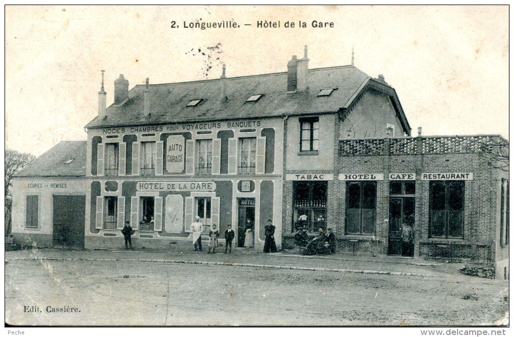 N°40184 -cpa Longueville -hôtel De La Gare- - Hotels & Restaurants