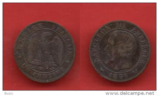 + 1 Centime 1855 W + Napoléon III + - Francia