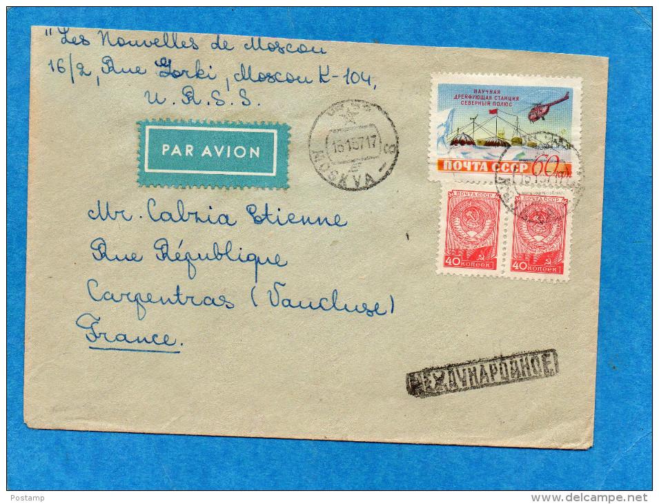 MARCOPHLIE-LETTRE -cad 1957-pour Françe-stamp -expéditioN Polaire N°1768 - Machine Stamps (ATM)