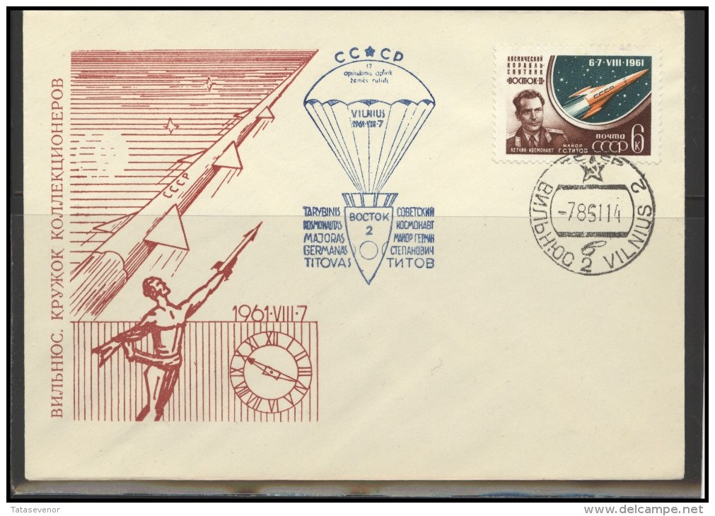 RUSSIA USSR Private Envelope LITHUANIA VILNIUS VNO-klub-027 Space Exploration VOSTOK-2 Titov - 1923-1991 USSR