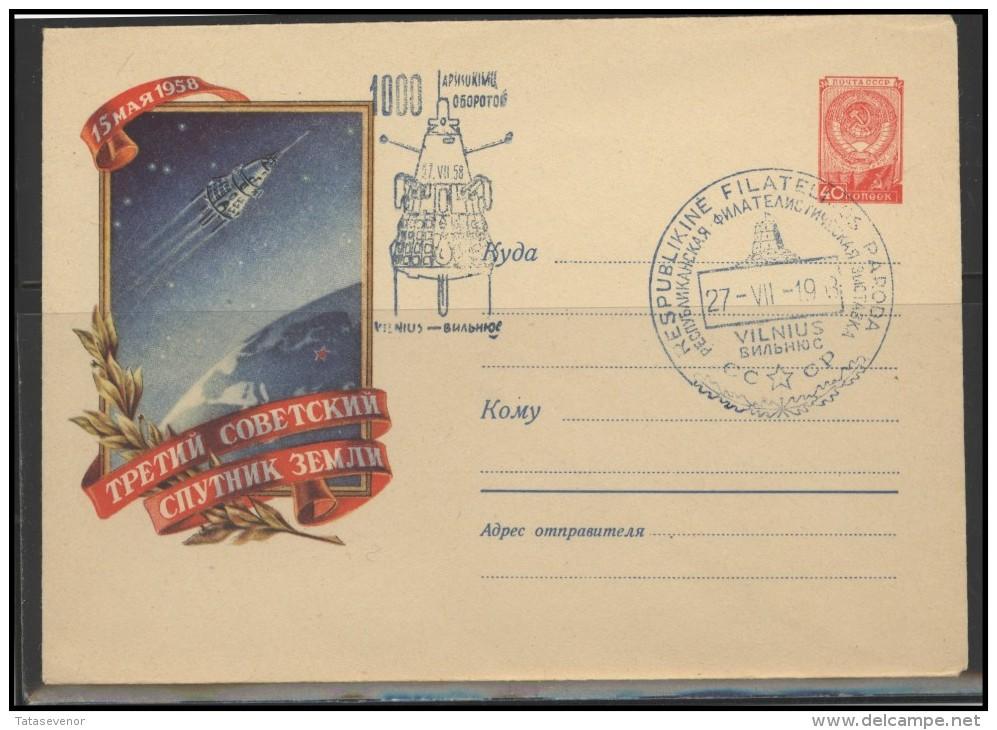 RUSSIA USSR Private Envelope LITHUANIA VILNIUS VNO-klub-030 Philatelic Exhibition Space Exploration Satellite - 1923-1991 USSR