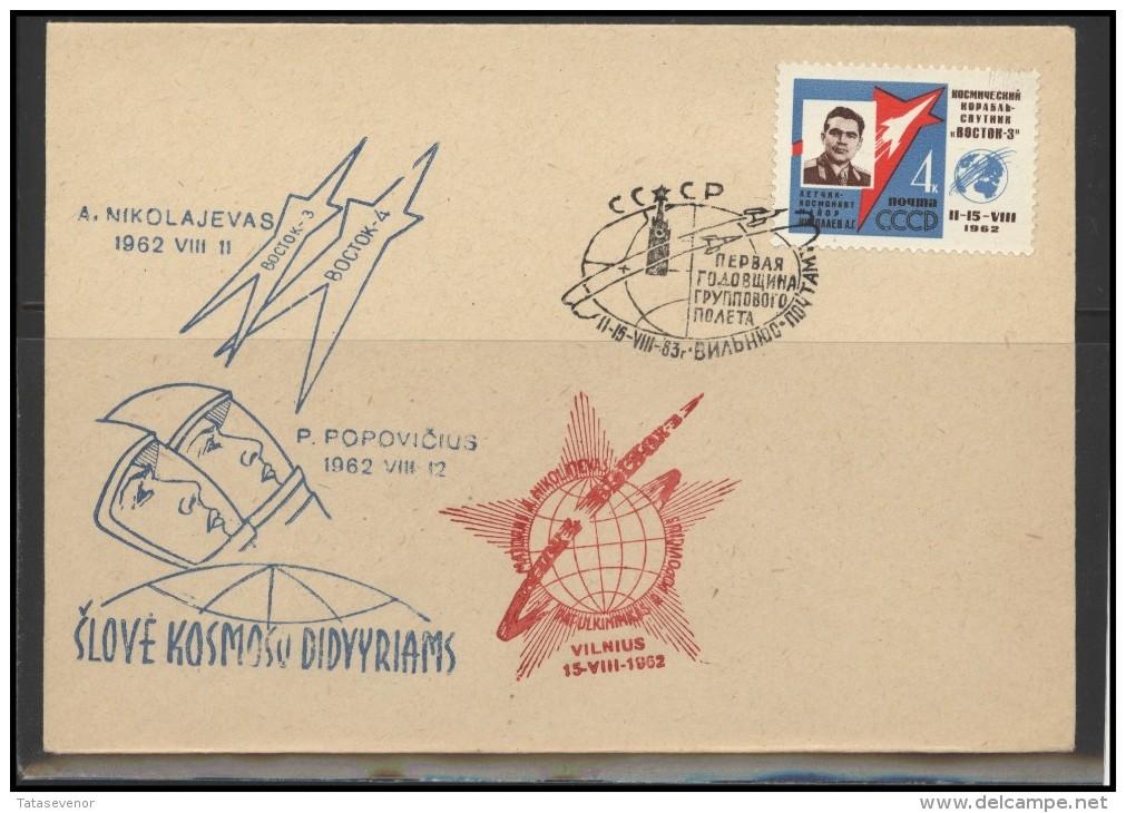 RUSSIA USSR Private Envelope LITHUANIA VILNIUS VNO-klub-053 Space Exploration Vostok-3 Vostok-4 Anniversary - 1923-1991 USSR