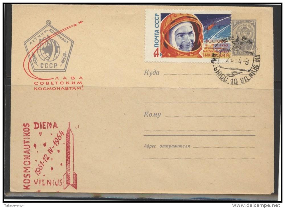 RUSSIA USSR Private Envelope LITHUANIA VILNIUS VNO-klub-59 Space Exploration Bykovsky Vostok-5 - 1923-1991 USSR