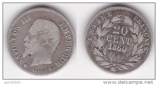 20 CENTIMES NAPOLEON III TETE NUE 1860 BB TB (voir Scan) - E. 20 Centimes