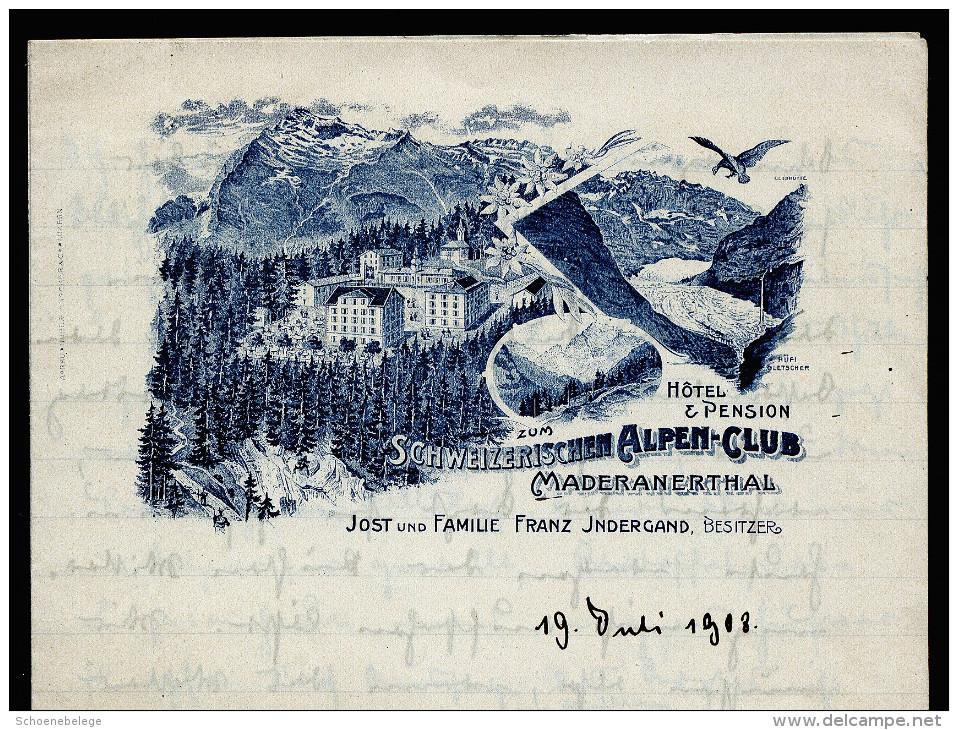 A2909) Briefbogen Mit Werbedruck Schweizerischer Alpen-Club 1908 - Werbung