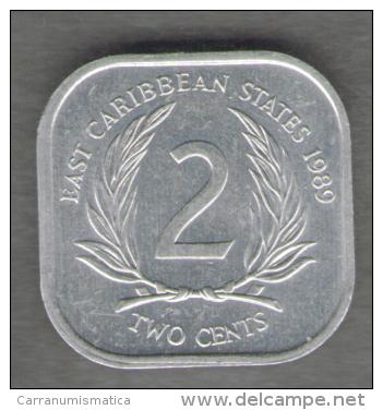 STATI DEI CARAIBI ORIENTALI 2 CENTS 1989 - Caraibi Orientali (Stati Dei)