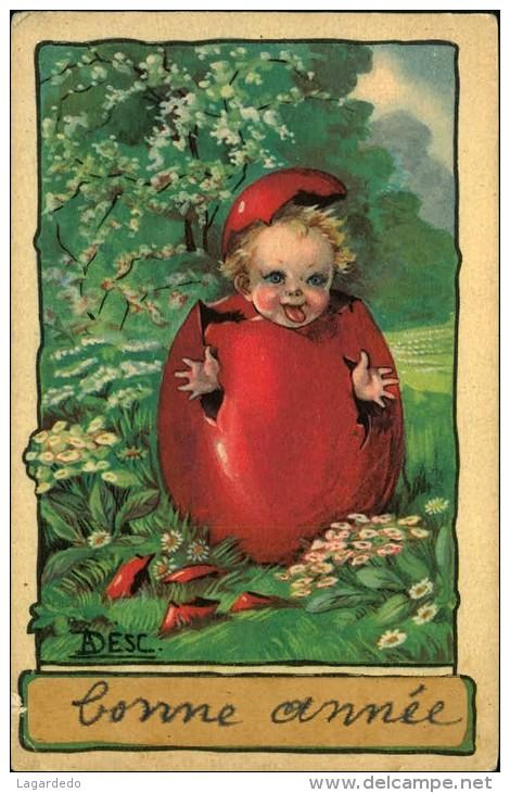 BONNE ANNEE ENFANT DANS UN OEUF SIGNEE ADESC - Künstlerkarten
