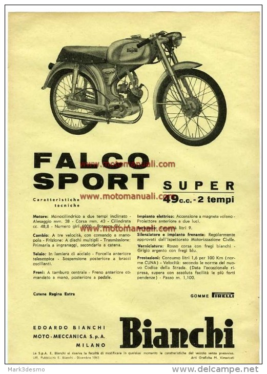 Bianchi FALCO SPORT SUPER 50 1961 Moto Depliant Originale Genuine Motorcycle Factory Brochure Prospekt - Motorfietsen