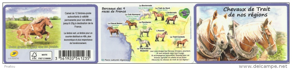 France, French Draft Horses, Booklet Of 12, 2013, MNH VF Self-adhesive - Commemoratives