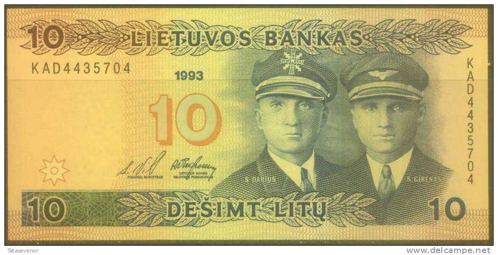 Lithuania 10 Litu Note, P56a, UNC - Lituanie
