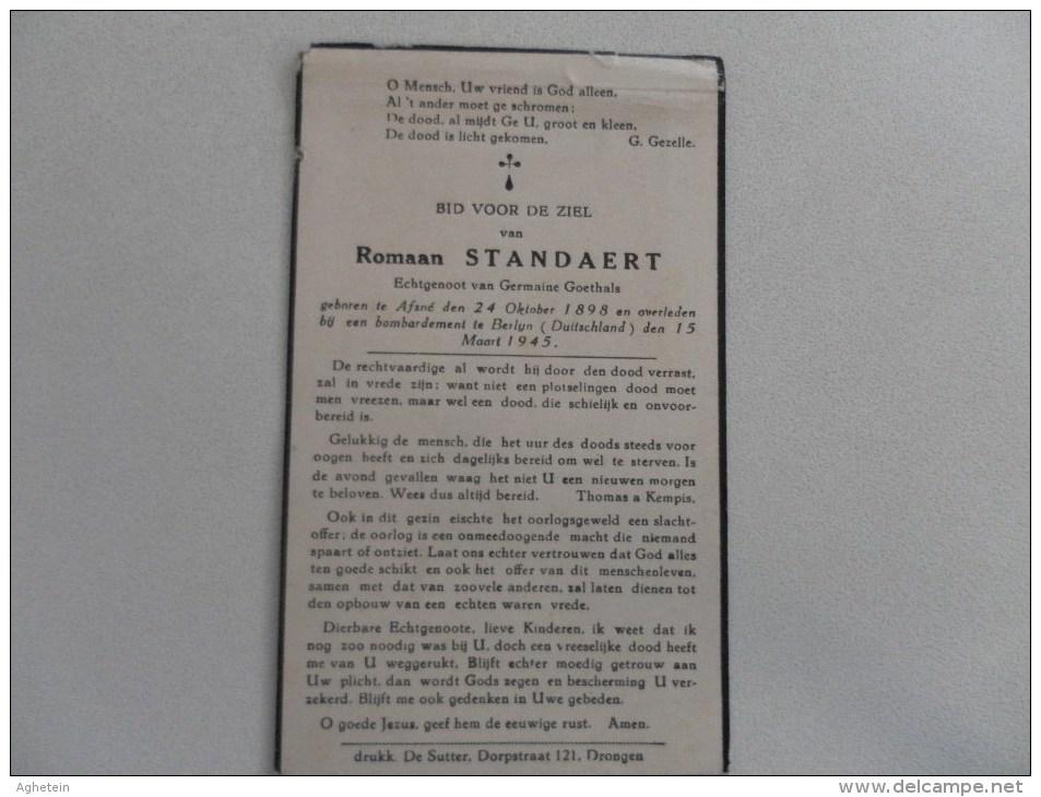 Doodsprentje:oorlogslachtoffer Romaan Standaert °Afsne 24-10-1898+bombardement Berlijn 15-3-1945 - Religion & Esotérisme
