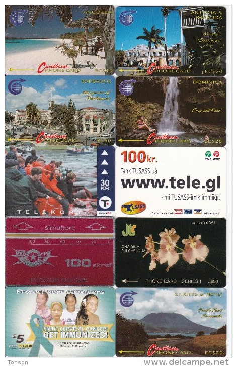 Anguilla, Antigua, Barbados, Dominica, Faroe, Greenland, Iceland, Jamaica, Micronesia, St. Kitts, 10 Good Cards, 2 Scans - Autres - Océanie