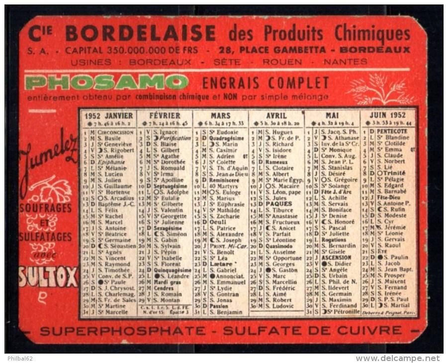 Petit Calendrier De Poche 1952 : Cie.bordelaise De Produits Chimiques, Phosphates, Sulfates, Engrais Phosamo. - Calendriers