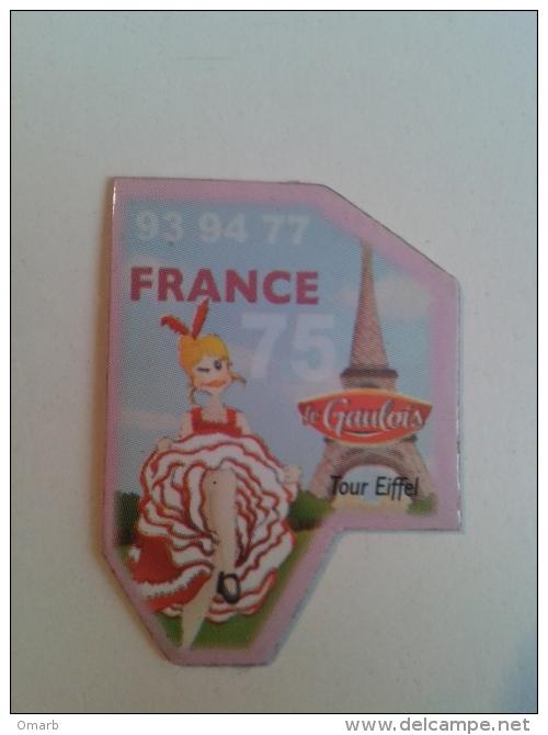 Sor161 Magnete, Calamita, Parigi Paris Tour Eiffel, Le Gaulois, Plate France 75, Can-can Famme Moulin Rouge, Pigalle - Pubblicitari