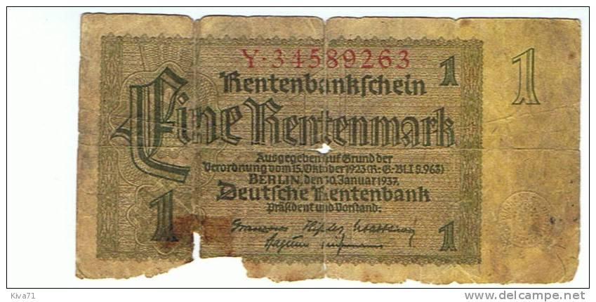"1  RentenMark  "" ALLEMAGNE ""   1937 Usagé - Unclassified"