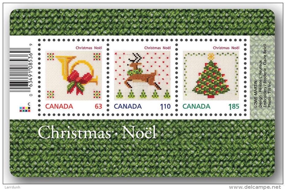 Canada Christmas Cross Stitching Souvenir Sheet Block MNH 2013 A04s - Full Sheets & Multiples