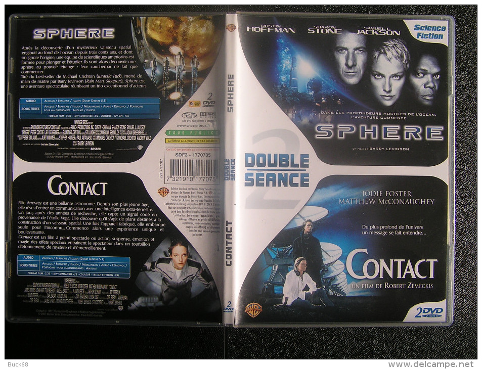 DVD Video : 2 Films SPHERE Et CONTACT De Barry LEVINSON Et Robert ZEMECKIS Science-fiction - Ciencia Ficción Y Fantasía