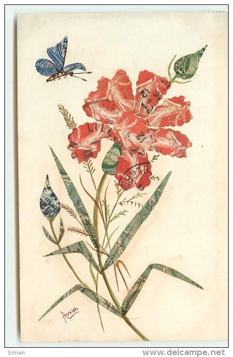 N°1244 - Collage De Timbres - Cut Stamps - Oeillet Et Papillon - Timbres (représentations)