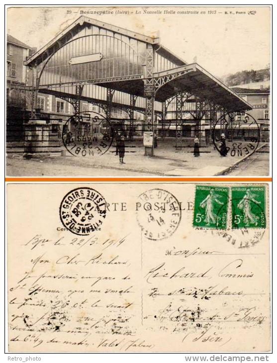 Beaurepaire - La Nouvelle Halle Construite En 1913 (cachets Multiples De Grenoble à St Etienne St Geoirs) - Beaurepaire