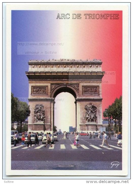 Paris - L´avenue Des Champs-Elysées Et L´Arc De Triomphe De L´Etoile - Utilisée Pour Concours - 2 Scans - Arc De Triomphe
