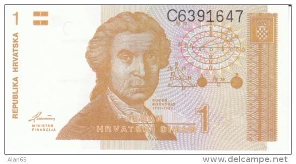 Croatia #16, 1 Dinar 1991 Banknote Currency - Croatia