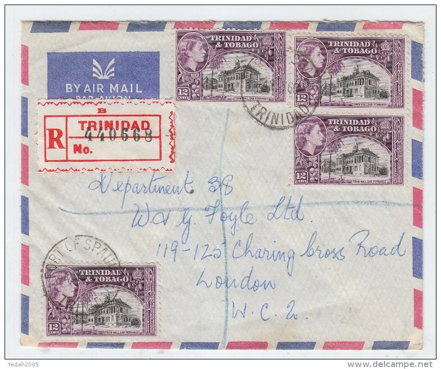 Trinidad&Tobago/UK REGISTERED AIRMAIL COVER 1960 - Trinidad & Tobago (1962-...)